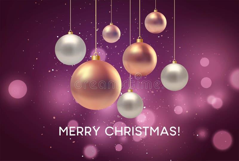 Kerstmis vertroebelde roze achtergrond met snuisterij Vector illustratie vector illustratie
