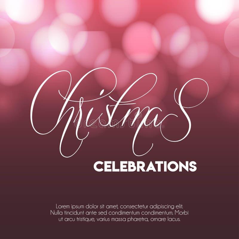 Kerstmis 2019 Vieringen Gloeiende achtergrond royalty-vrije illustratie
