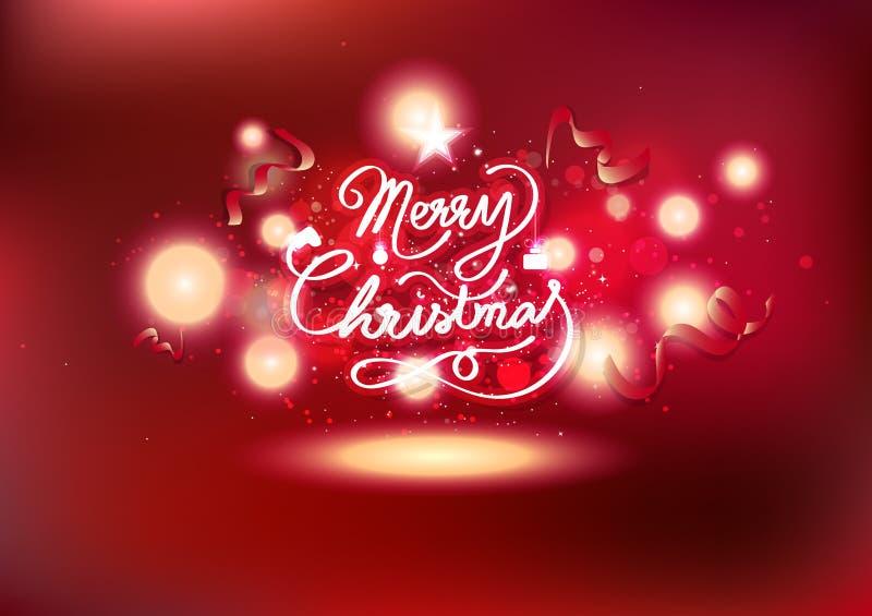 Kerstmis viert, lintenkalligrafie en magische vallende sterren, rood thema licht gloeiend vuurwerk die achtergrondpartij exploder stock illustratie