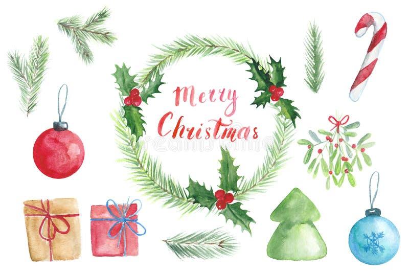 Kerstmis watercolour plaatste met kroon, nette takken en het van letters voorzien royalty-vrije stock afbeeldingen