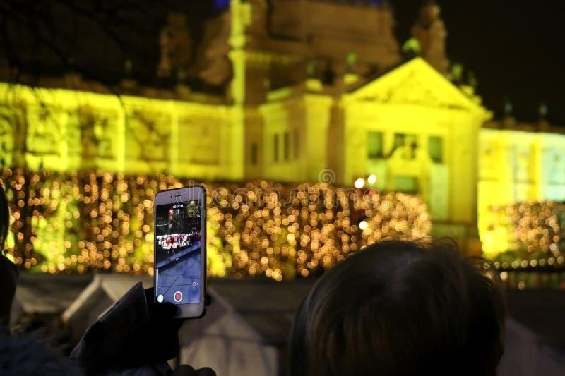 Kerstmis in Zagreb, Kroatië stock afbeelding