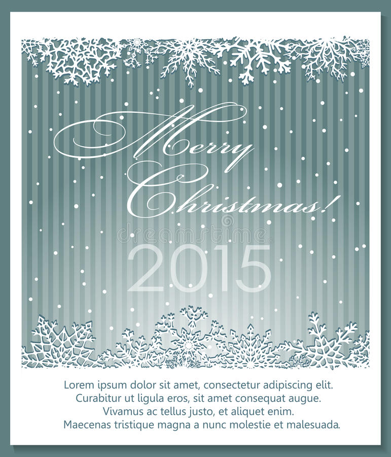 Kerstmis zilveren achtergrond met sneeuwvlokken stock illustratie