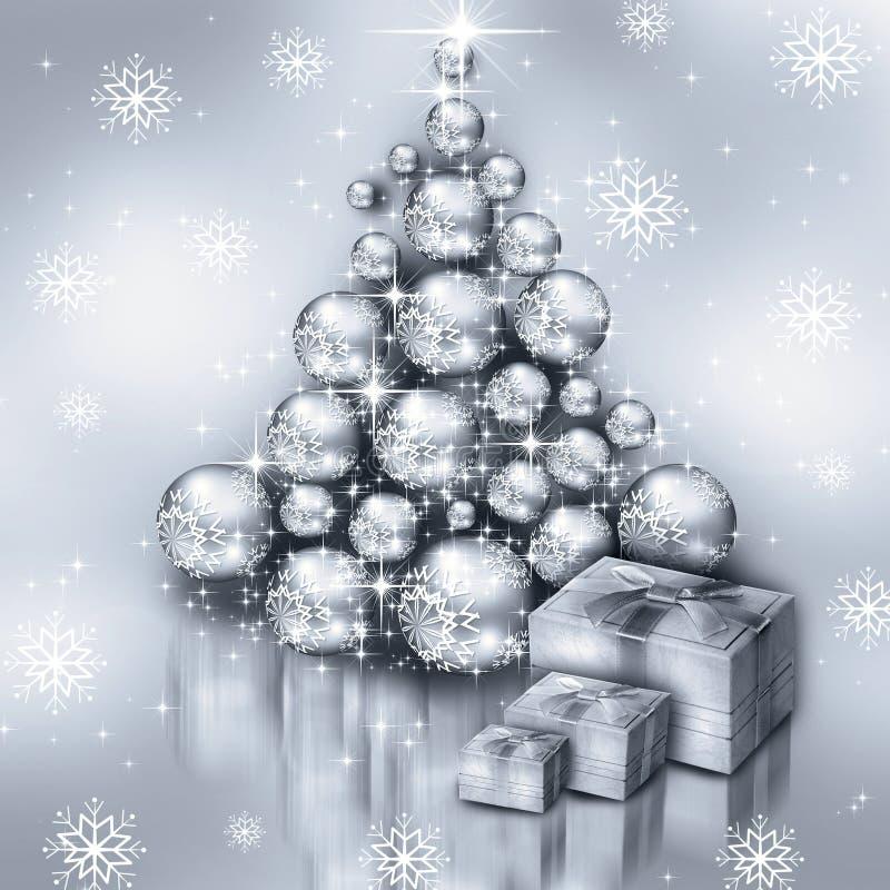 Kerstmis zilveren boom royalty-vrije illustratie