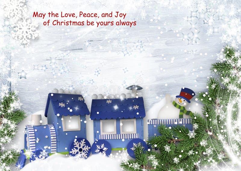 Kerstmis zoete achtergrond met trein en sneeuwman stock illustratie