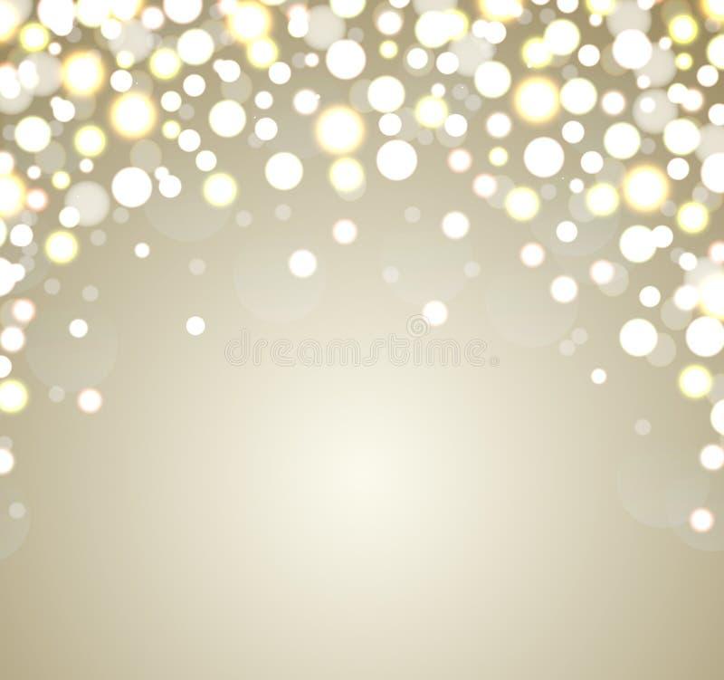 Kerstmisachtergrond. Abstracte gouden defocused bedelaars royalty-vrije illustratie