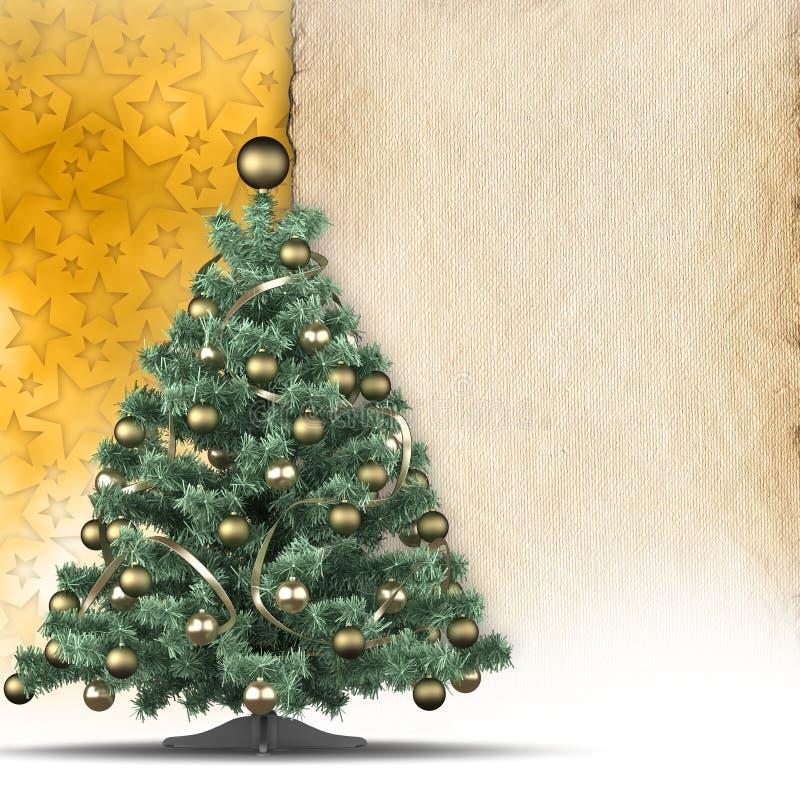 Kerstmisachtergrond - boom en leeg document blad stock illustratie