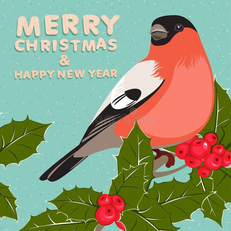 Kerstmisachtergrond en groetkaart met goudvink en hulst stock illustratie