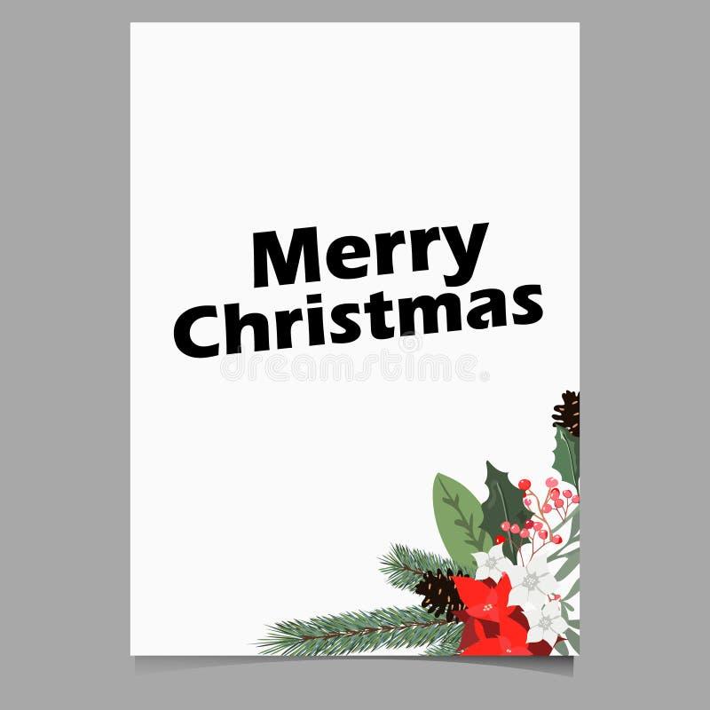 Kerstmisachtergrond of het malplaatje van de groetaffiche met de vector van vakantieelementen stock illustratie