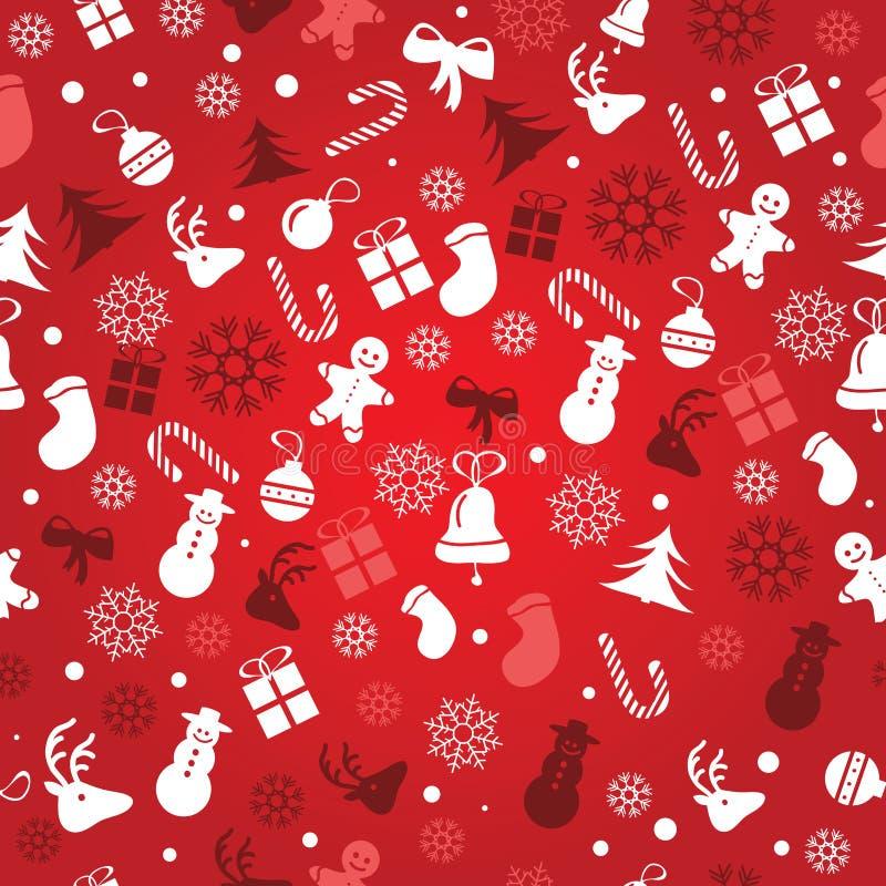 Kerstmisachtergrond, het naadloze betegelen, grote keus voor verpakkend document patroon vector illustratie