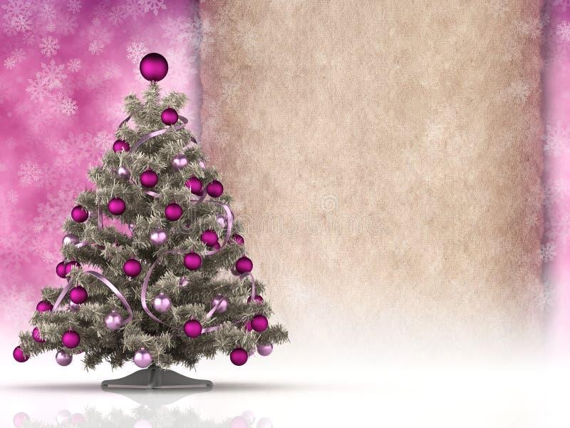 Kerstmisachtergrond - Kerstmisboom en leeg document blad vector illustratie