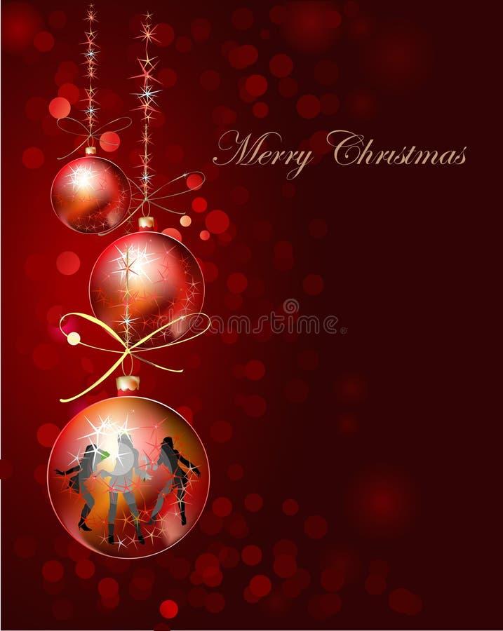 Kerstmisachtergrond met bal stock illustratie