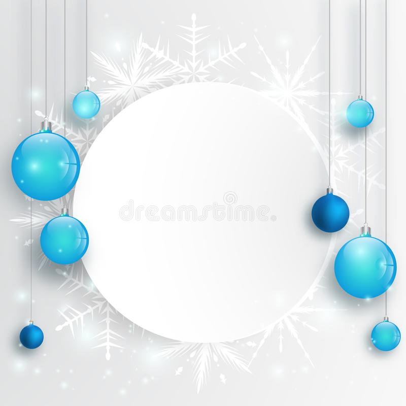Kerstmisachtergrond met Blauwe Kerstmisballen en sneeuw voor Kerstmisontwerp De achtergrond van het nieuwjaar vector illustratie