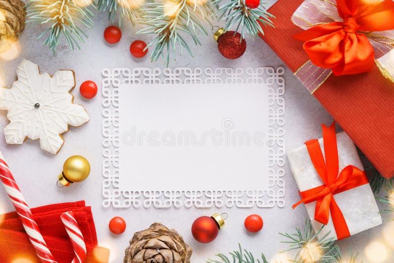 Kerstmisachtergrond met copyspace en decoratie royalty-vrije stock fotografie