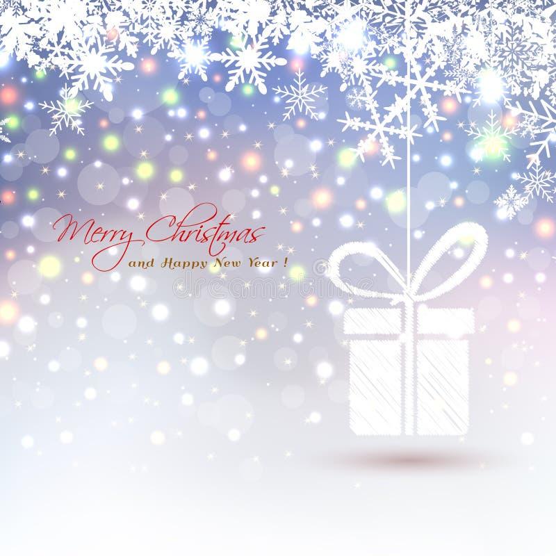 Kerstmisachtergrond met de abstracte hangende sneeuwvlokken van de giftdoos en gekleurde lichten royalty-vrije illustratie