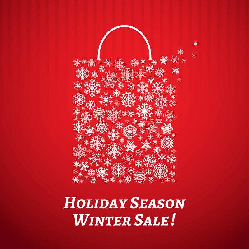 Kerstmisachtergrond met een het winkelen zak van sneeuwvlokken stock illustratie