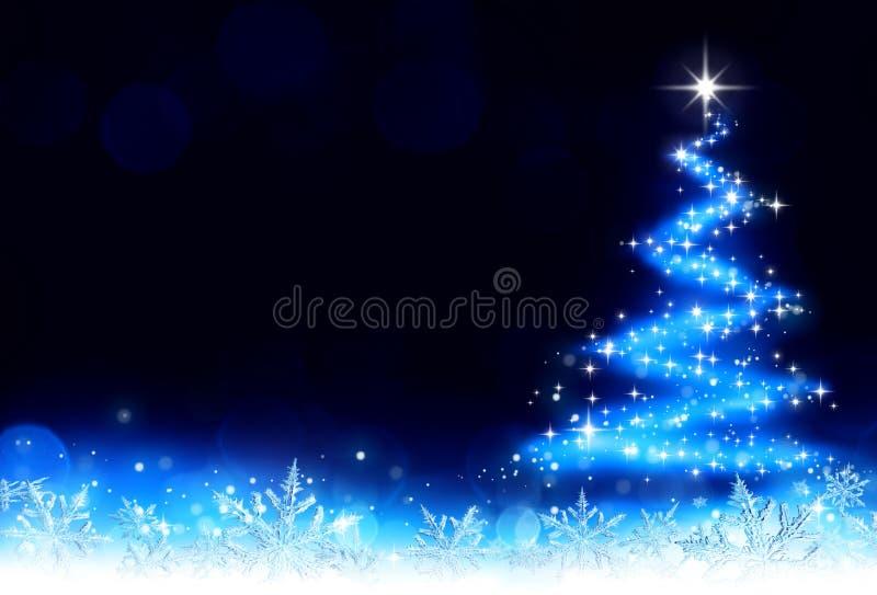 Kerstmisachtergrond met een sleep van stardust en sneeuwvlokken stock illustratie