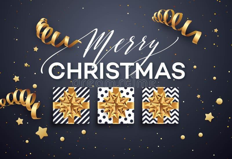 Kerstmisachtergrond met giftdoos met gouden boog, wimpels, confettien stock illustratie