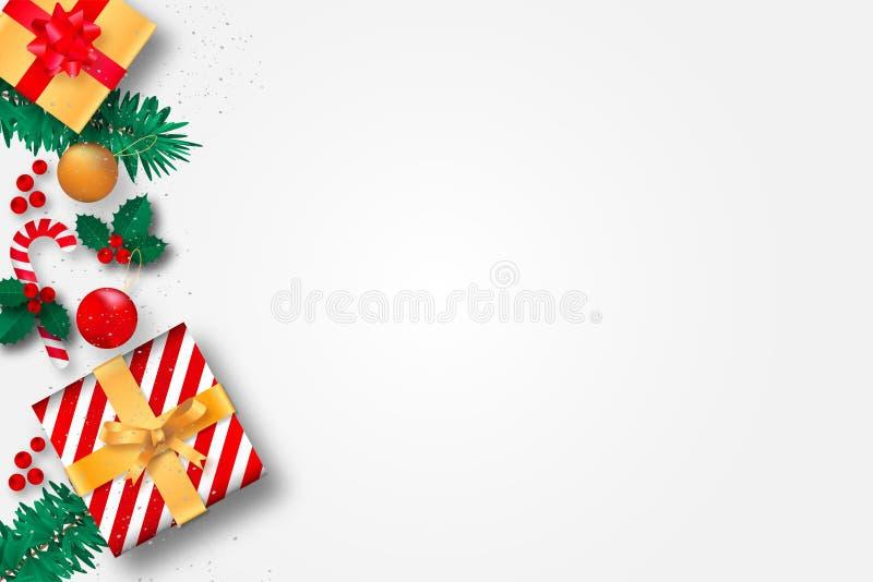 Kerstmisachtergrond met giftdozen en decoratie stock foto