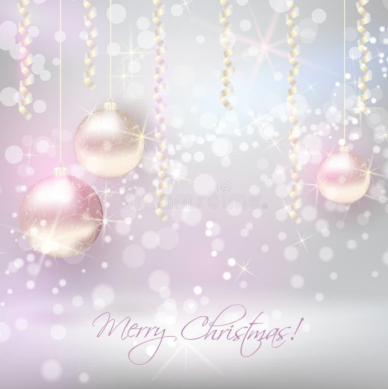 Kerstmisachtergrond met glanzende Kerstmissnuisterijen vector illustratie