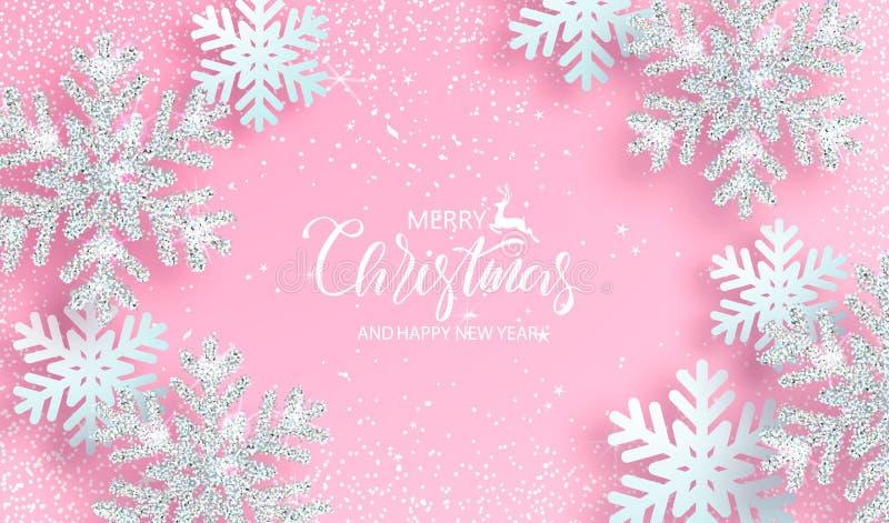 Kerstmisachtergrond met glanzende zilveren sneeuwvlokken op roze achtergrond Vector illustratie vector illustratie