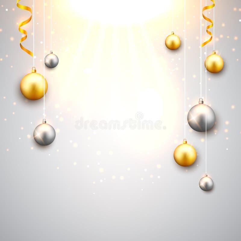 Kerstmisachtergrond met gouden en zilveren Kerstmisballen Decoratieve feestelijke het ontwerpkaart van de Kerstmisviering royalty-vrije illustratie