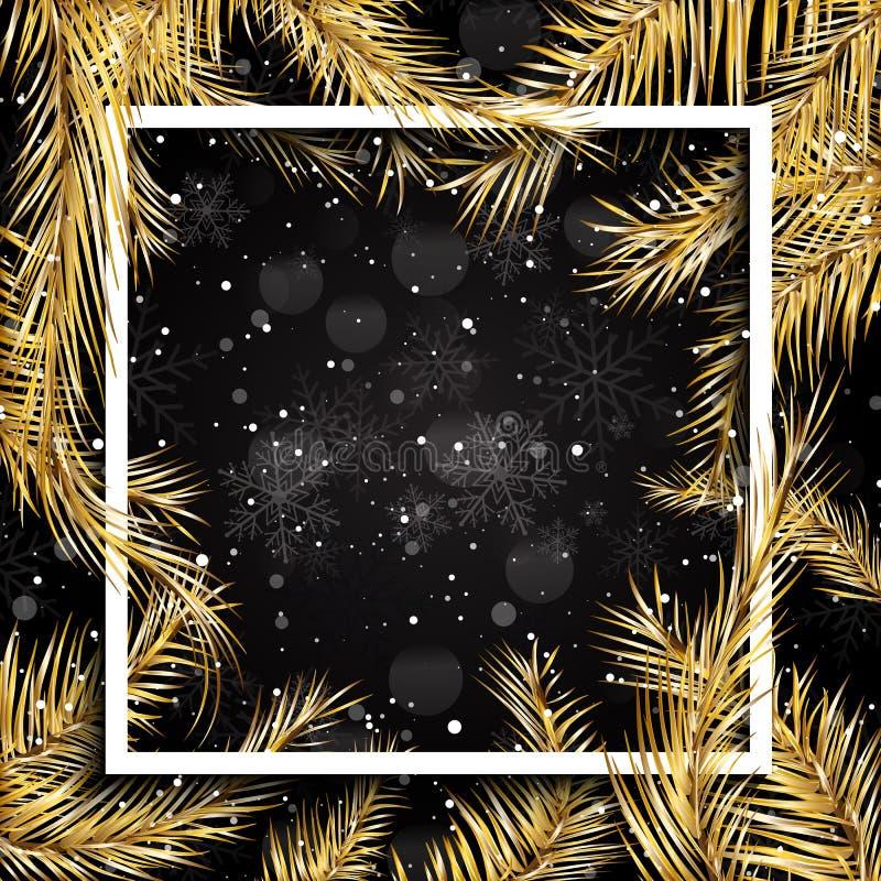 Kerstmisachtergrond met gouden sparrentakken en wit kader stock illustratie