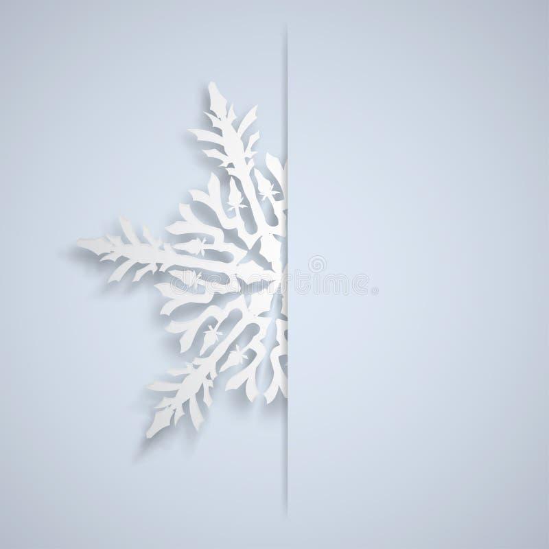 Kerstmisachtergrond met grote sneeuwvlok stock illustratie