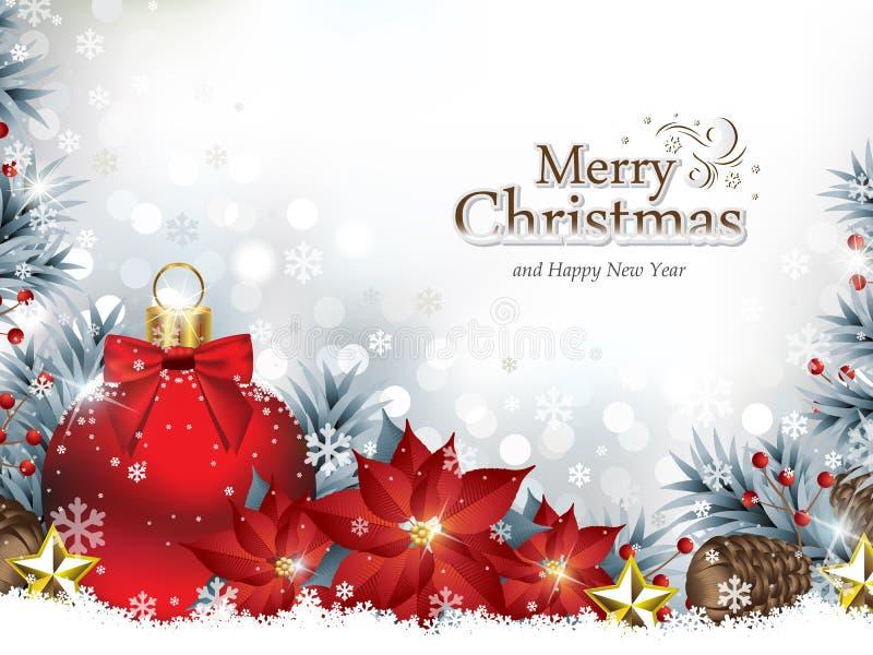 Kerstmisachtergrond met Kerstmisornamenten en Poinsettiabloemen vector illustratie