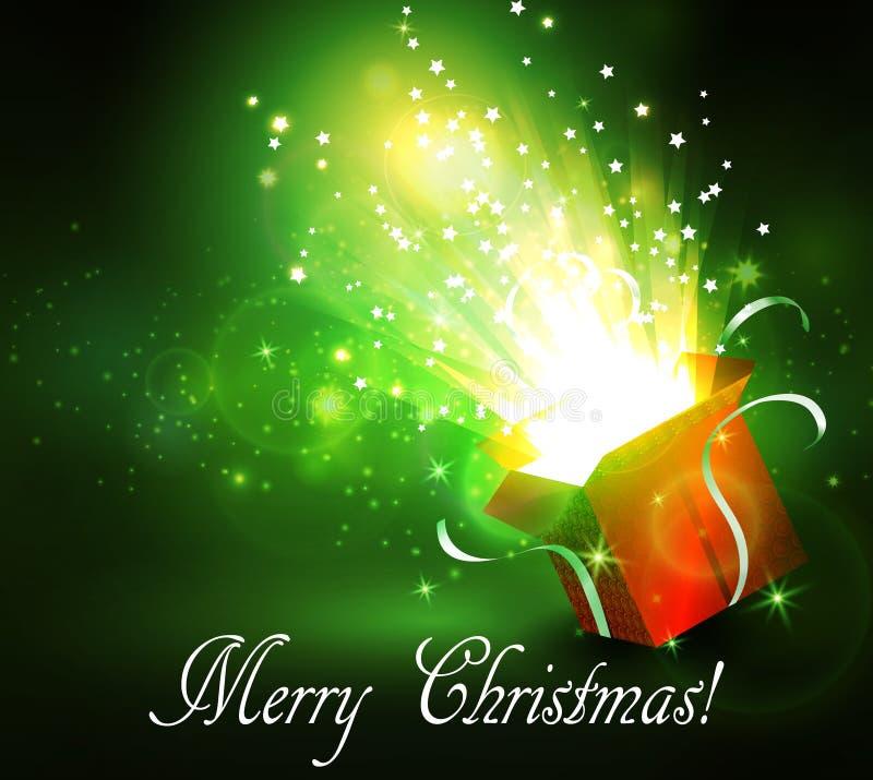 Kerstmisachtergrond met open rode doos royalty-vrije illustratie