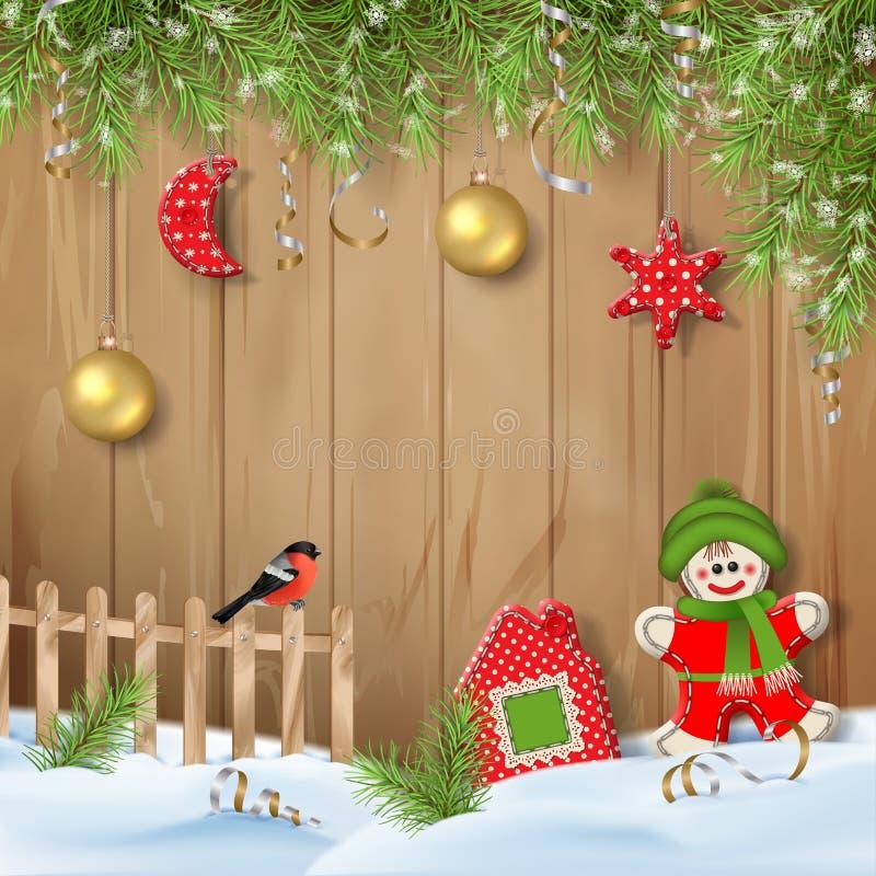 Kerstmisachtergrond met Ornamenten royalty-vrije illustratie