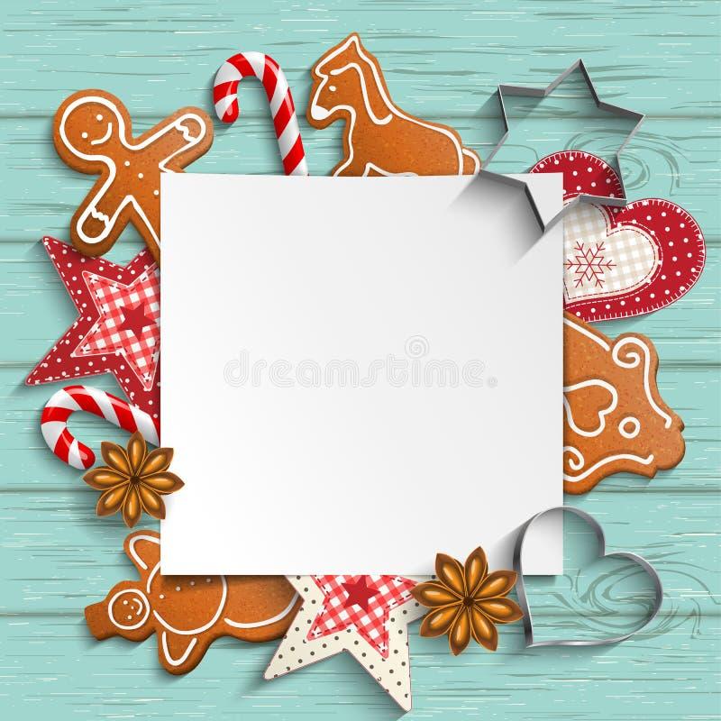 Kerstmisachtergrond met peperkoek en rustieke ornamenten vector illustratie