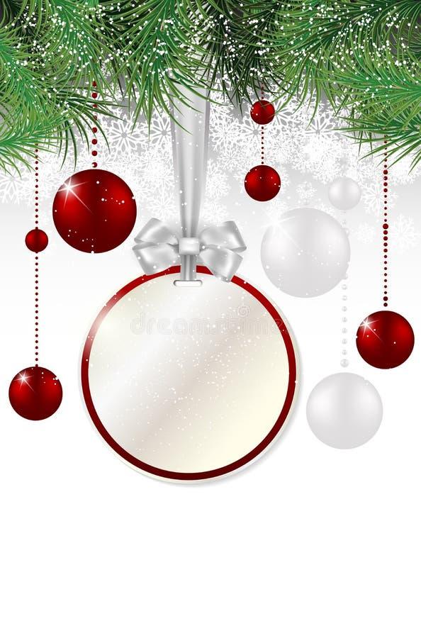 Kerstmisachtergrond met prijskaartje, ballen en sparren vector illustratie