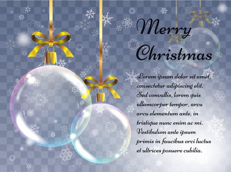 Kerstmisachtergrond met realistische ballen Kerstmissnuisterijen Greetin stock illustratie