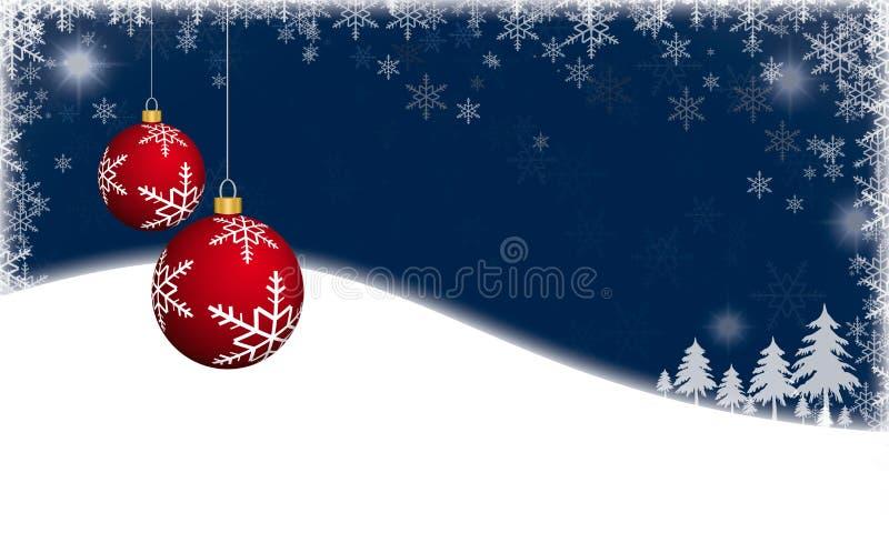 Kerstmisachtergrond met Rode Kerstmissnuisterijen royalty-vrije illustratie