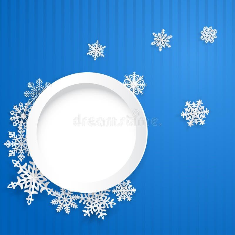 Kerstmisachtergrond met ronde kader en sneeuwvlokken stock illustratie