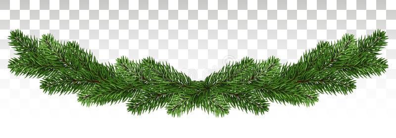 Kerstmisachtergrond met slinger, Nieuwjaardecoratie met spar stock illustratie