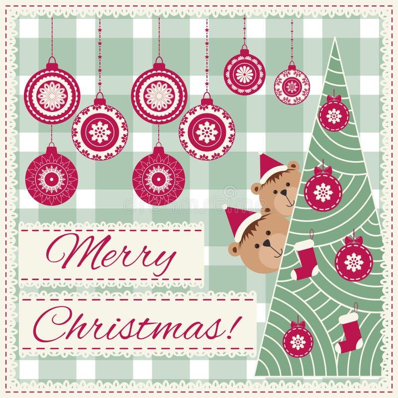 Kerstmisachtergrond met sneeuwvlok en teddybeer Patroon voor het ontwerp van de de wintervakantie, Borduurwerkstylization Vrolijk stock illustratie