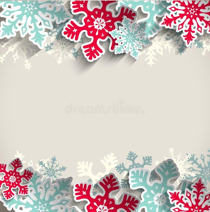 Kerstmisachtergrond met sneeuwvlokken, de winter stock illustratie