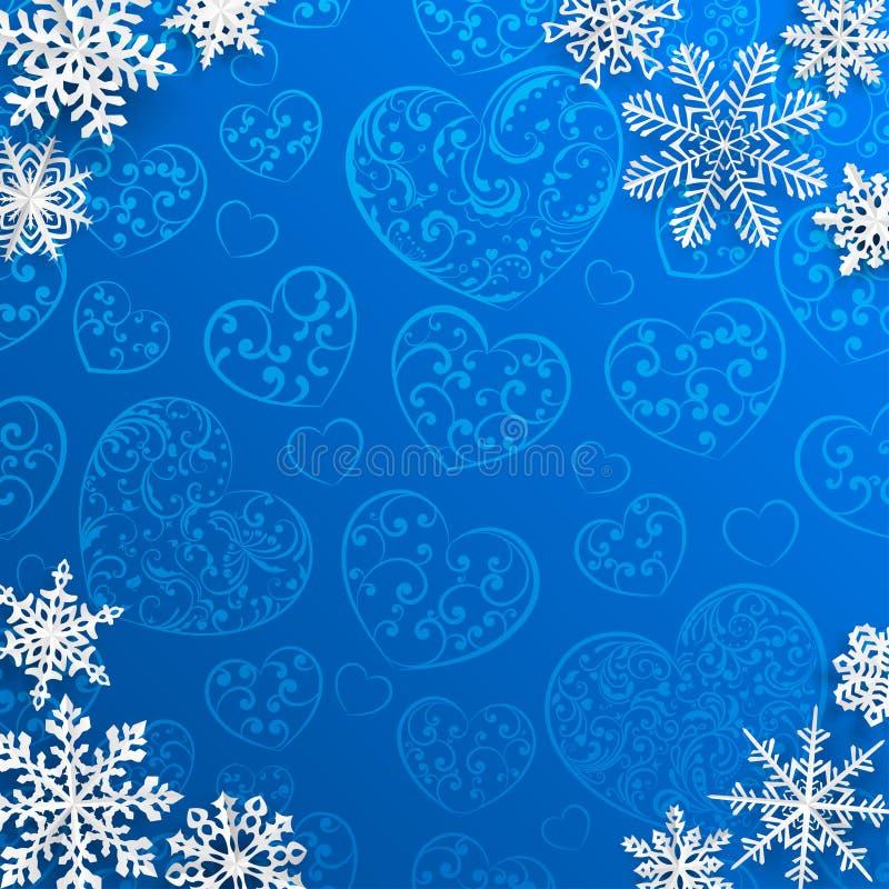 Kerstmisachtergrond met sneeuwvlokken op achtergrond van harten stock illustratie