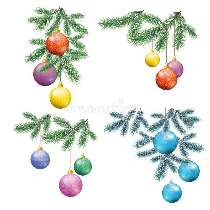 Kerstmisachtergrond met Spar en Ballen royalty-vrije illustratie