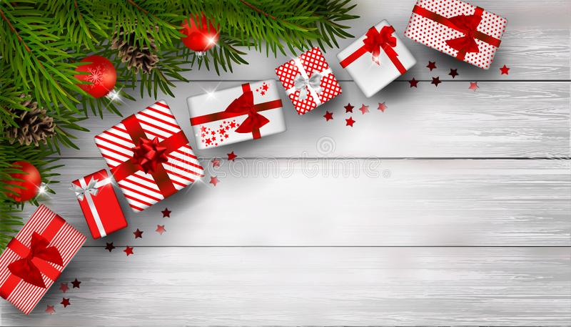 Kerstmisachtergrond met spartakken en bos van rode giftvakjes op witte houten lijst stock illustratie