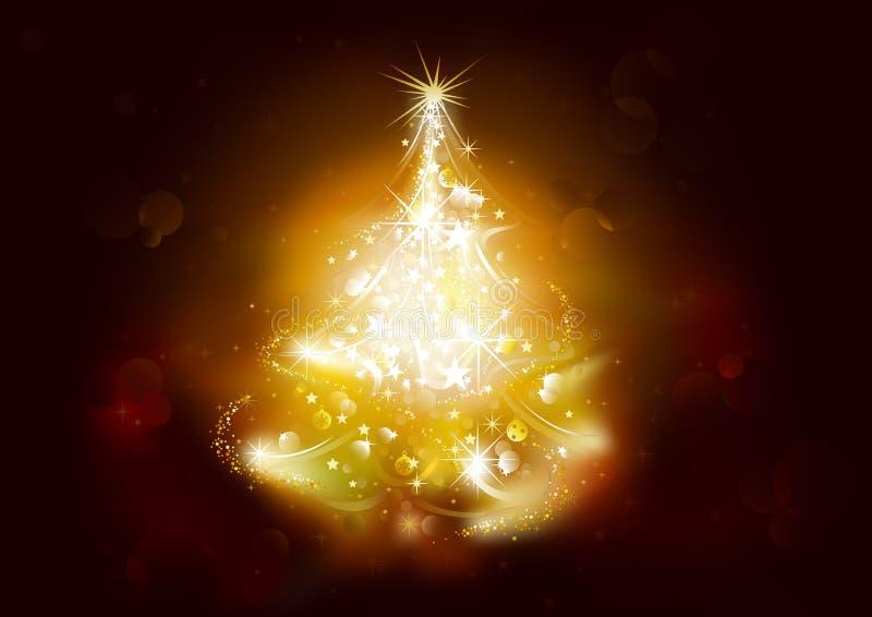 Kerstmisachtergrond met sterrige boom vector illustratie