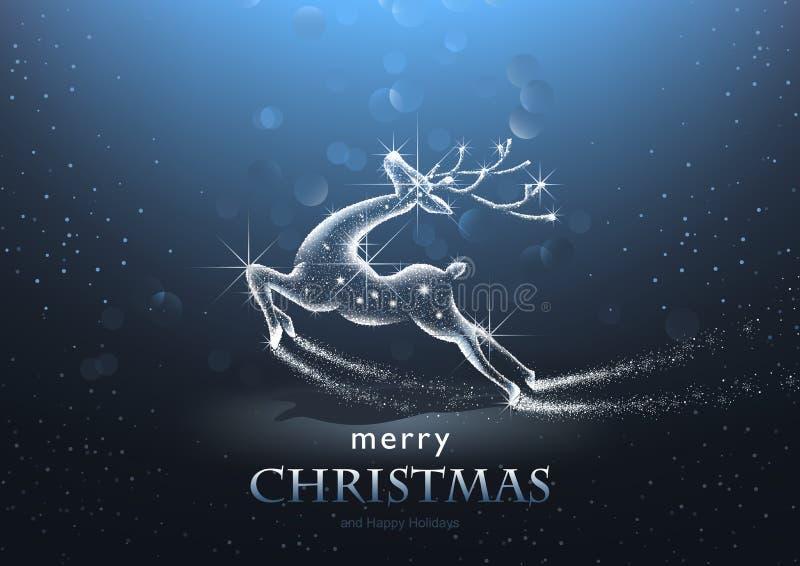 Kerstmisachtergrond met Sterrige Herten vector illustratie