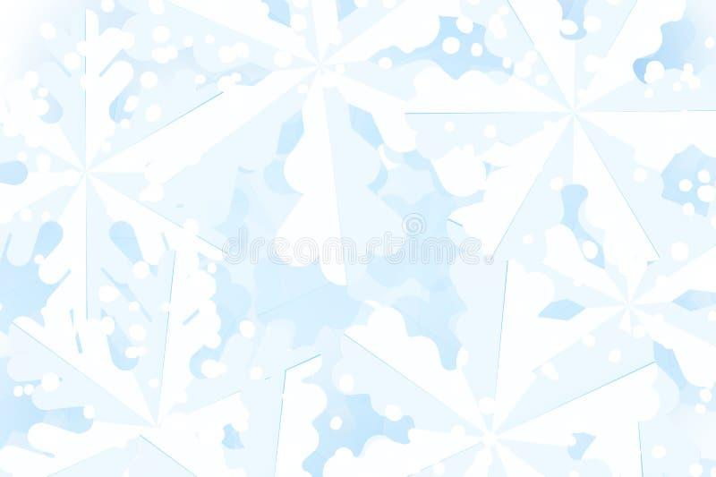 Kerstmisachtergrond met witte en blauwe sneeuw en document sneeuwvlokken stock illustratie