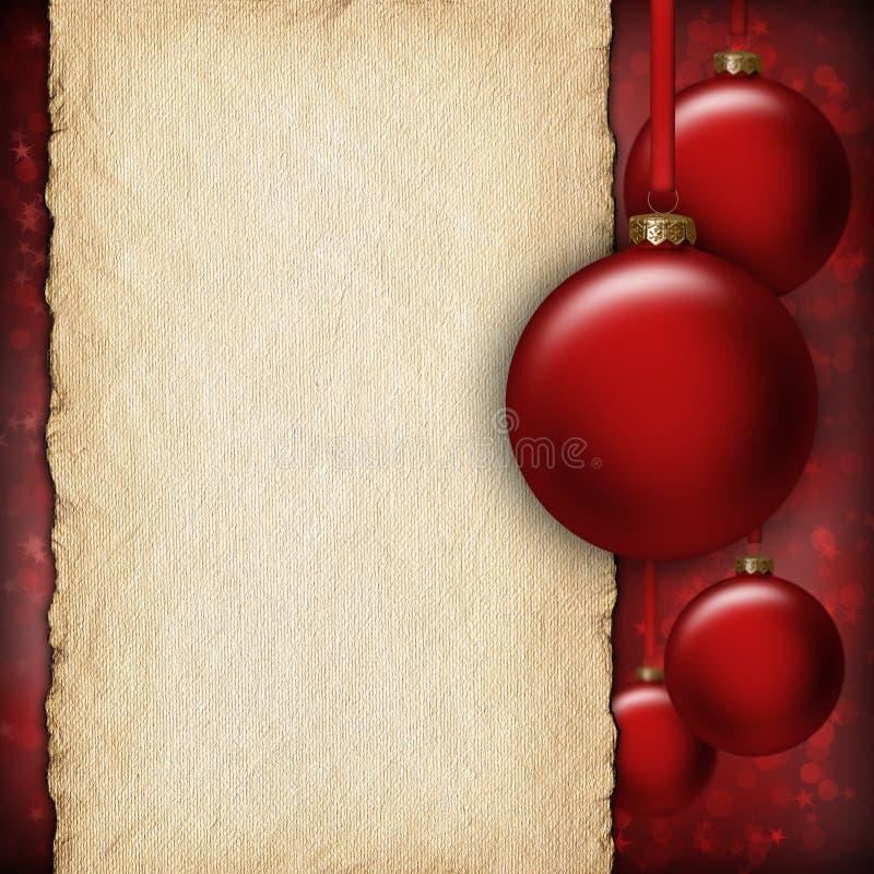 Kerstmisachtergrond - rode snuisterijen en leeg document blad vector illustratie