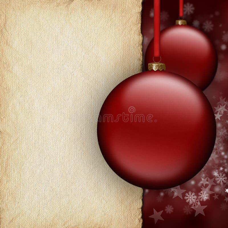 Kerstmisachtergrond - rode snuisterijen en leeg document blad royalty-vrije illustratie