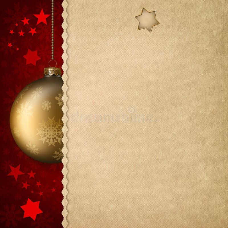 Kerstmisachtergrond - snuisterijen en document blad stock illustratie