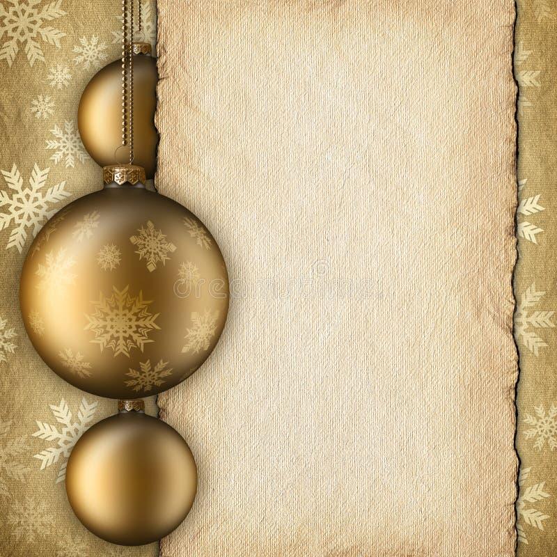 Kerstmisachtergrond - snuisterijen en leeg document blad royalty-vrije illustratie