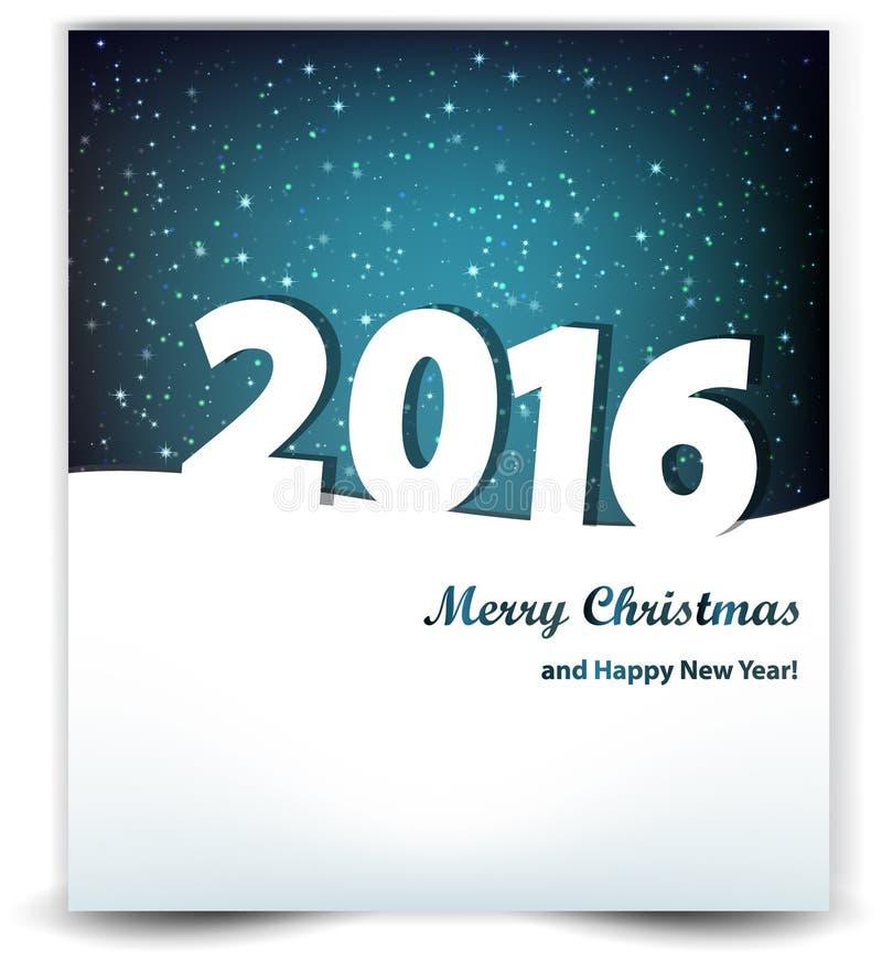 Kerstmisachtergrond van de nachthemel en het jaar 2016 stock illustratie
