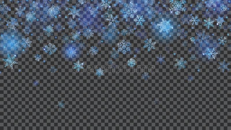 Kerstmisachtergrond van doorzichtige dalende sneeuwvlokken stock illustratie